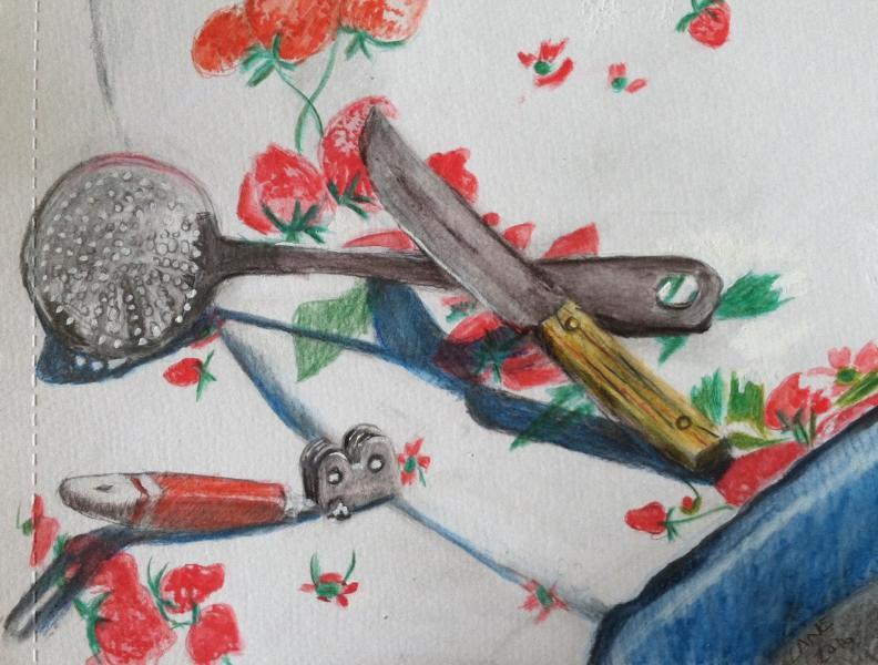 watercolor, still life, kitchen utensils