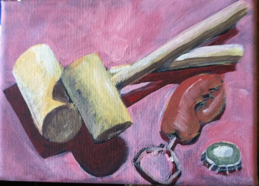 still life, painting, crab mallets