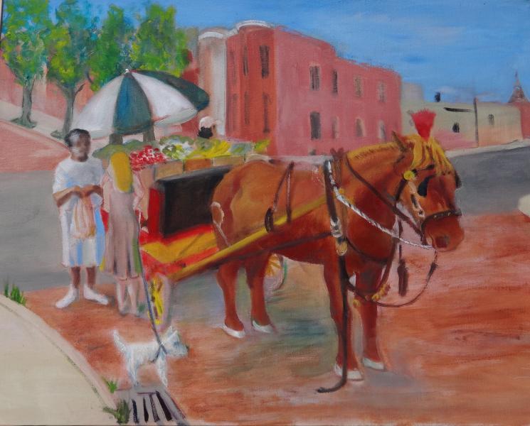 painting, cityscape, Baltimore, arabber, horse