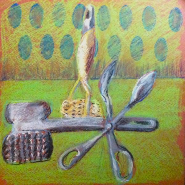 drawing, mixed media, kitchen utensils,