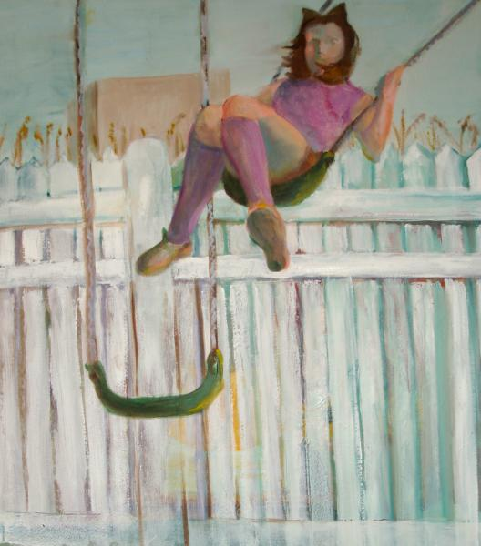 painting, swing, fence, girl