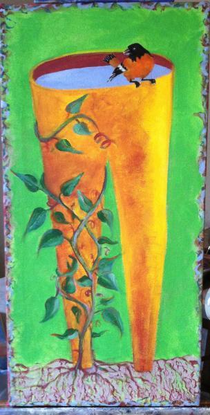 painting, bird bath, pants, oriole, modern
