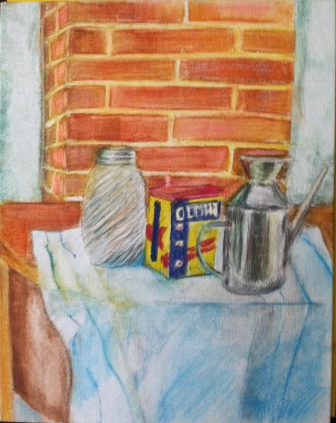 painting, watercolor, Old Bay, still life