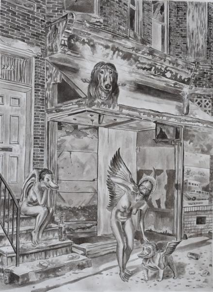 On the Stoop VI, Afghan Hound God and His Ducked Up Angels