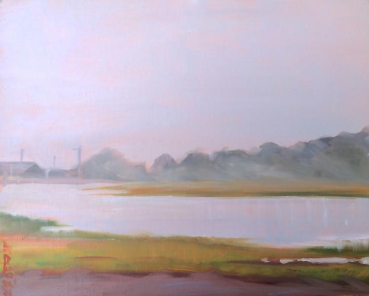 foggy morning Cape Cod painting by Jo Brown ©2016