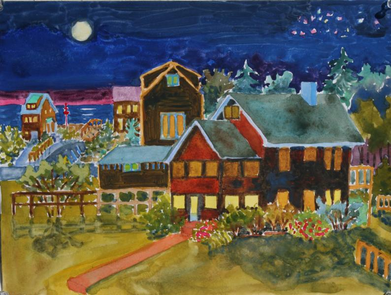 """Bethany Lights, watercolor, 12""""x16"""", 2010"""