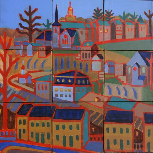 "Ellicott City From St. Paul's, acrylic, 30""x30"", 2001"