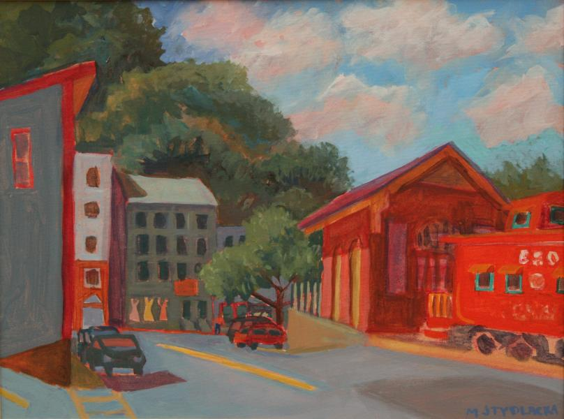 "Ellicott City Train Station,  acrylic, 18""x24"", 2013"