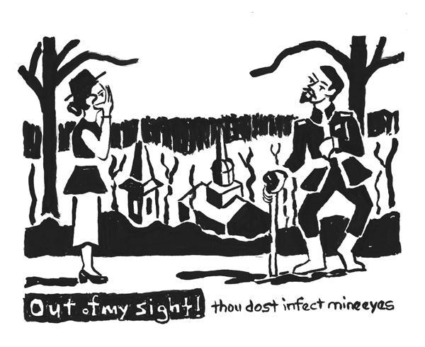 "Richard lll Courts Ann Over Ellicott City, ink, 6""x8"", 2013"