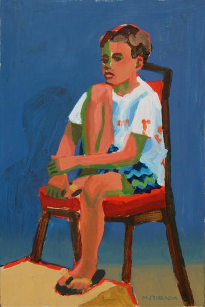 "Seated Boy, acrylic, 24""x18"", 2000"