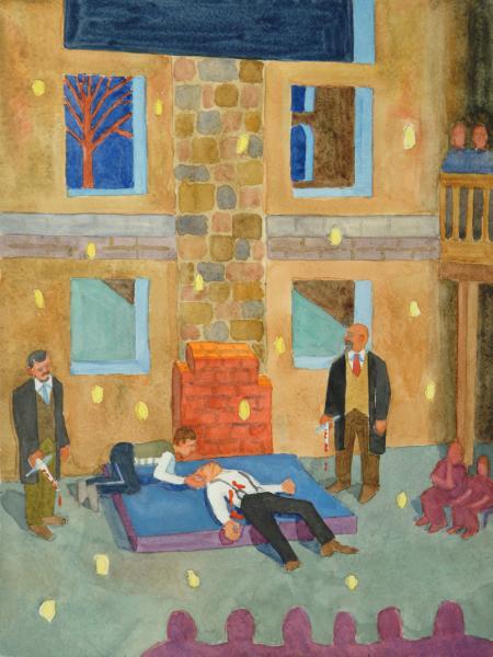 "The Death Of Caesar, watercolor, 16""x12"", 2011"