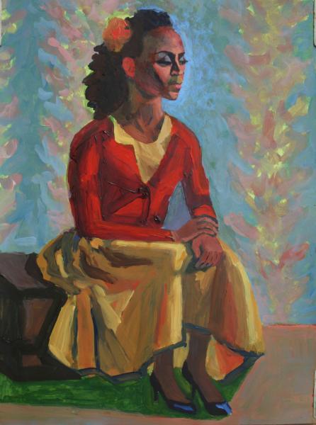 "Woman In Yellow Skirt, acrylic, 24""x18"", 2017"