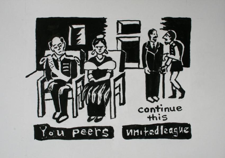 """You Peers, ink, 6""""x8"""", 2017"""
