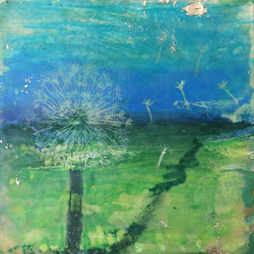 dandelion,wish,wind,encaustic,memory,momento