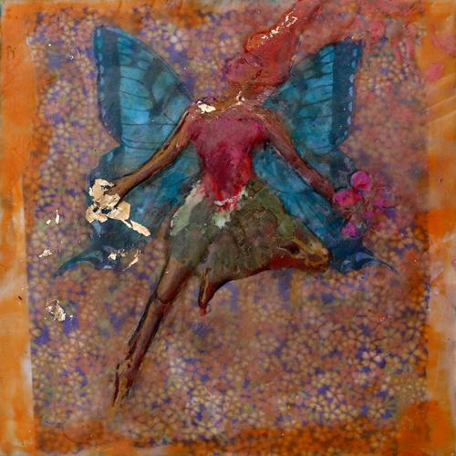 fairy,spring,portrait,fantasy,encaustic,honhair