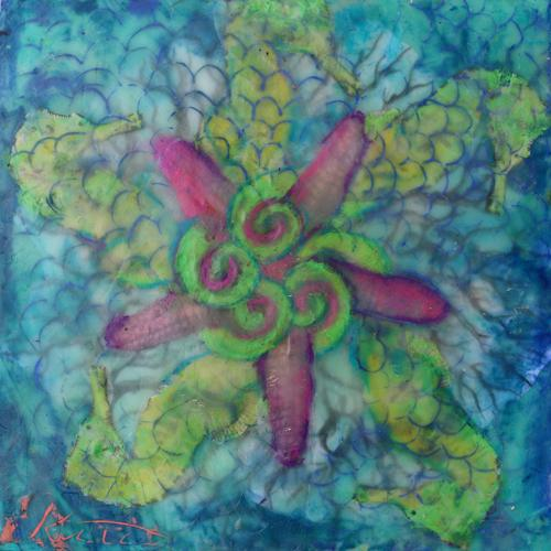 mermaid,sealife,fantasy,mandala,encaustic