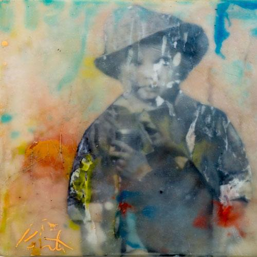 elvis,youth,portrait,impressioism,encaustic