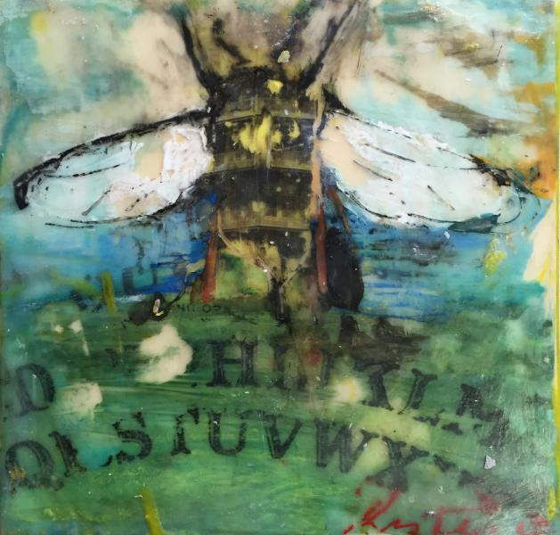pagoda,bee,ouija,landscape,surreal,encaustic