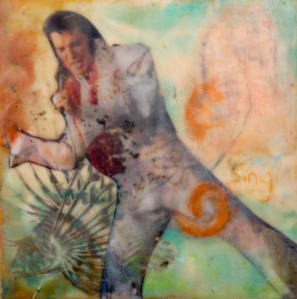 elvis,coralreef,sea,humor,encaustic,collage