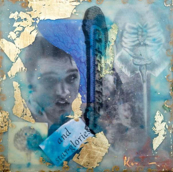 elvis,marquee,collage,encaustic,surreal