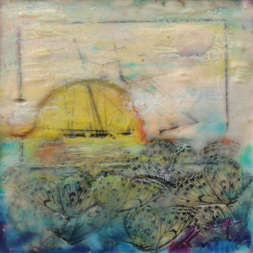 dada,fantasy,lemon,butterfly,pride,baltimore,ship,seascape,dreamscape,encaustic