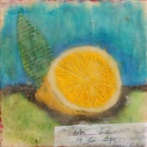 lemon,lemonade,stillife,food,encaustic