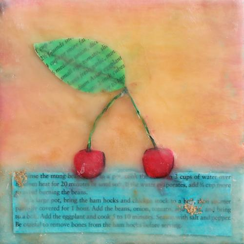 cherries,fruit,stillife,encaustic