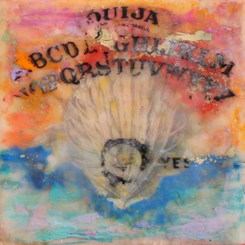 encaustic,seashell,ouija,sunset,seascape,sky