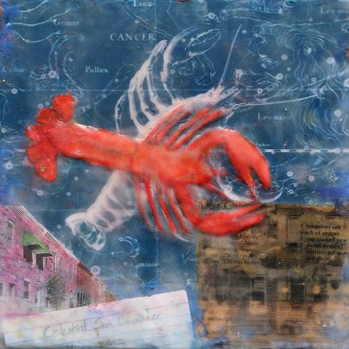 Lobster,rowhomes,cityscape,baltimore,encaustic
