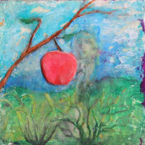 apple,landscape,stillife,portrait,eden,eve,snake,encaustic