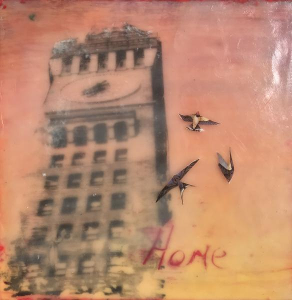 cityscape,encaustic,flock,sunset