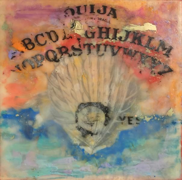 ouija,clamshell,sea,collage,encaustic