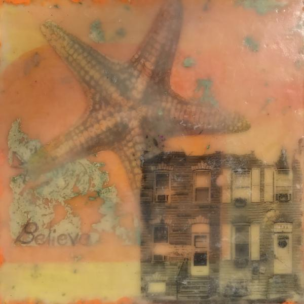 rowhome,seastar,cityscape,surreal,encaustic