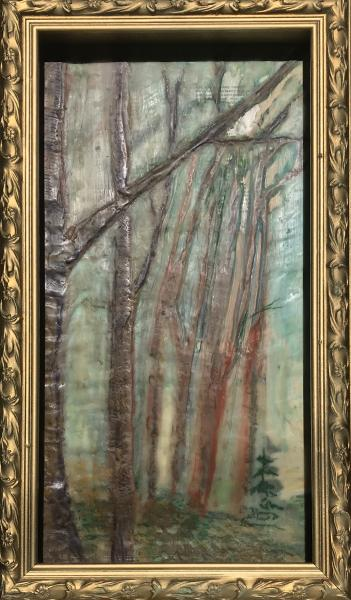 trees,woods,falll,woods,walkinthewoods,nature,encaustic,landscape