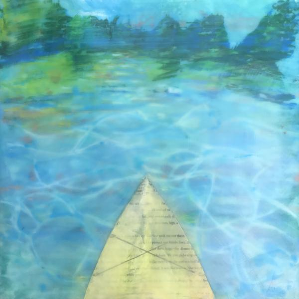 kayak,water,landscape,text,collage,encaustic