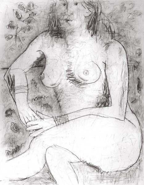 """18""""x24"""" abstract nude in charcoal"""