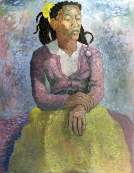 """Portrait of Gazelle, 18""""x24"""" oil on wood panel"""