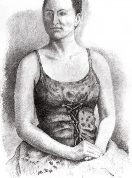 "Portrait of Joan, 18""x24"" charcoal on paper"