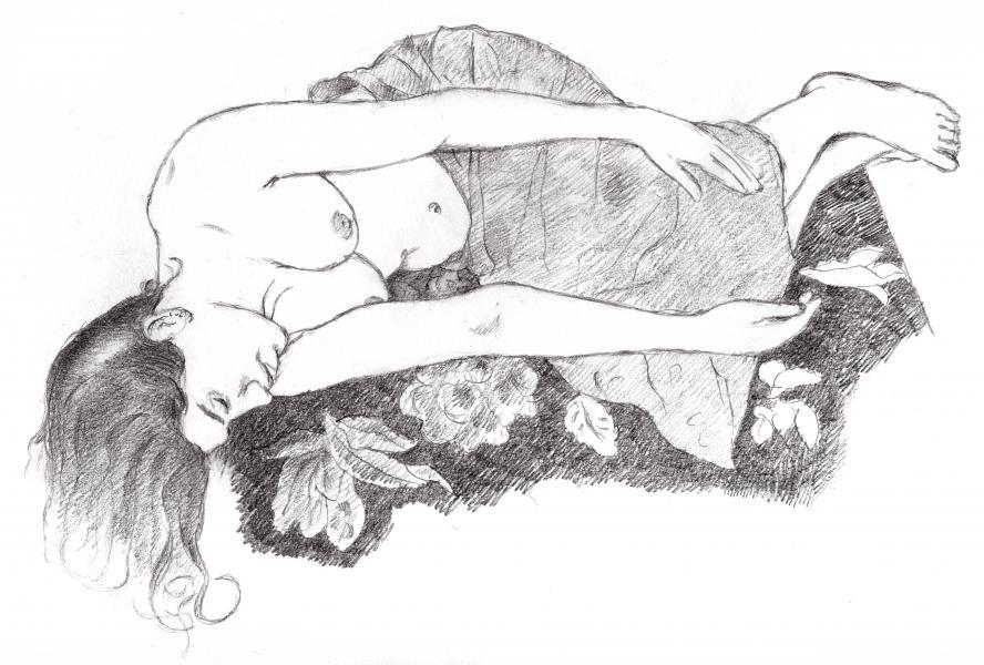 "12""x9"" pencil drawing"