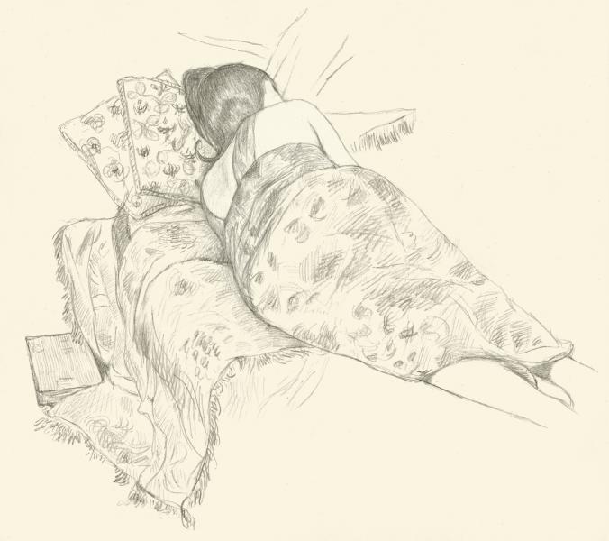Pencil drawing of sleeping woman