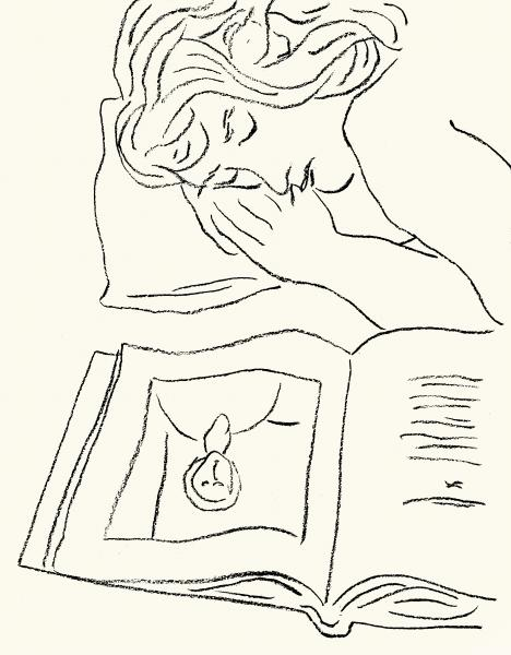 Charcoal drawing of a woman asleep