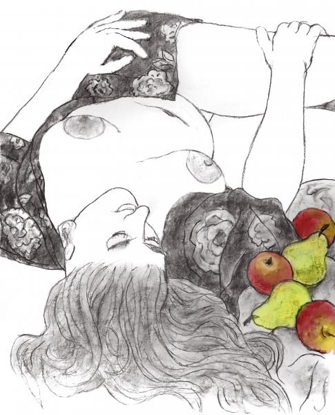 Still life and nude in charcoal and pastel