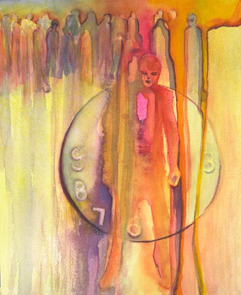 """""""Argon Traveler"""" is the one person who  persists against all odds. The watercolor is 15"""" x 11"""""""