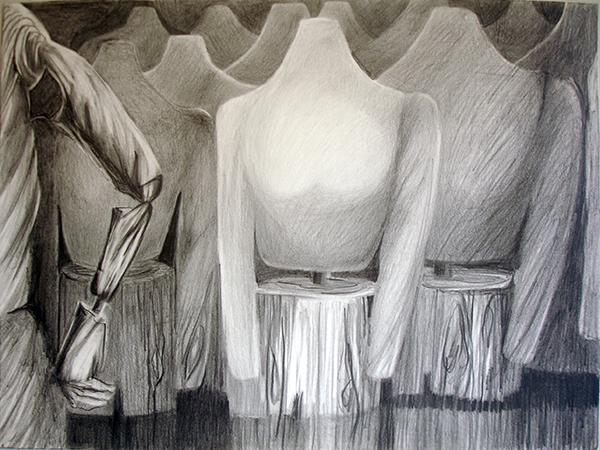 """""""Assembly"""" is graphite drawing 16"""" x 20"""""""