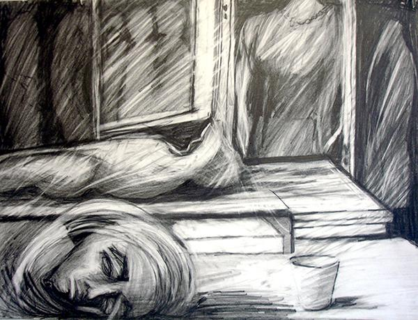 """""""Dream"""" is a graphite drawing that contemplates images of a dreamscape"""