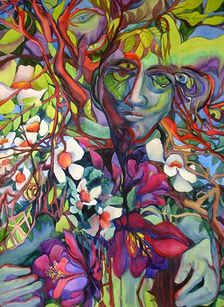 """""""Embrace"""" is a watercolor, 30"""" x 22"""", that is about the love of nature"""