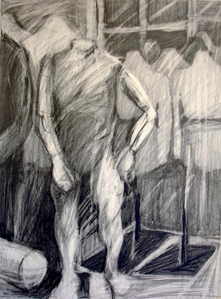 """""""Life Forms"""" are a group of clothing forms drawn with graphite pencil."""