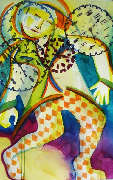 Colorful, patterned dancing figure with clock faces surrounding his face.