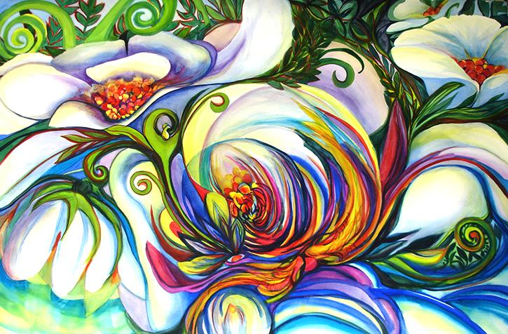 swirling and rippling colors create a visual rhythm inspired. by classical guitar