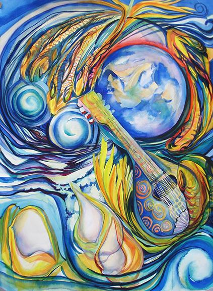 """""""Song of the Sea"""" is a 30"""" x 22"""" watercolor inspired by the rhythms of the earth's oceans."""